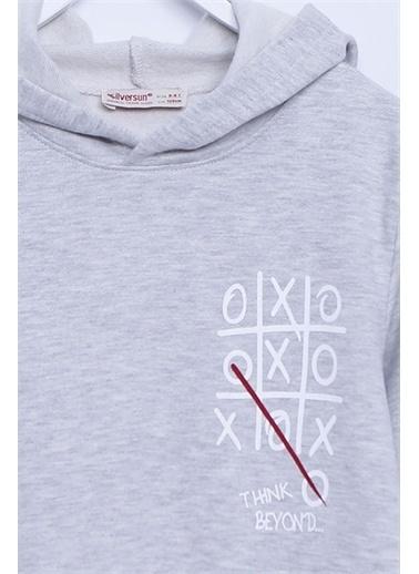 Silversun Kids Kapşonlu Sweat Shirt Örme Uzun Kollu Baskılı Kapşonlu Sweatshirt Erkek Çocuk Js-313272 Gri